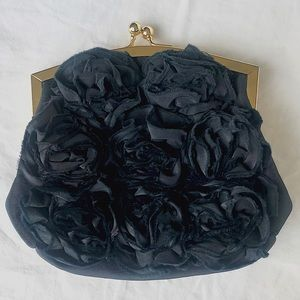 Rose Appliqué Aldo Black Clutch🌹